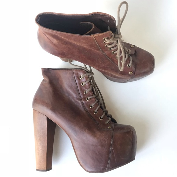 Women's Shoes 9.5 Jeffrey Campbell Lita Platform Heeled Lace-up Bootie Brown Distressed Clothing, Shoes & Accessories